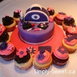 purple purse with cupcakes