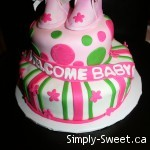Baby Shower cake - green & pink